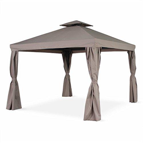 Alice's Garden Pérgola de Aluminio - Divodorum 3x3m - Lona Taupe - Cenador con Cortinas, Estructura de Aluminio