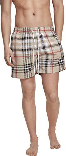 Urban Classics Herren Badehose Check Swim Shorts, Starfish/White, L