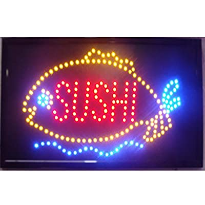 CHENXI Sushi Store Neon Sign 48X25 CM Indoor Ultra Bright Flashing Led Sushi Display Sign Food Store Led Sign