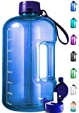 1 Gallon Water Bottle With Time Marker - Large Water Bottle Gallon Water Bottle Motivational One Gallon Water Bottle With Straw 1 Gallon Water Jug With Time Marker 1 Gallon Big Water Bottle Dark Blue