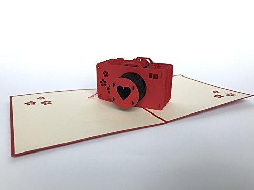 Rot Kamera 3D Pop up Grußkarte Anniversary Baby Happy Geburtstag Ostern Mutter Thank You Valentine 's Day Hochzeit Kirigami Papier Craft Postkarten