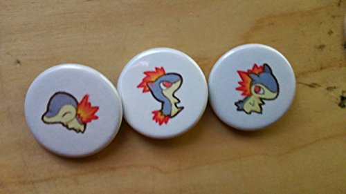 Pokemon Collectible 1' inch Buttons - Cyndaquil, Quilava, Typhlosion Evolution Set - Custom Made - Pin Back - Gift Party Favor