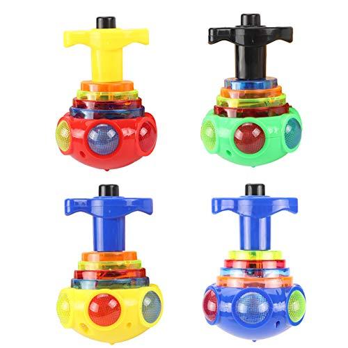 ISAKEN Leuchtende Musik Gyro Toy Kreisel Spielzeug mit LED-Licht Glänzende Spielzeug Spinning Toy Peg-Top Toy Spielzeugkreisel Geschenk für Kinder, Zufällige Farbe