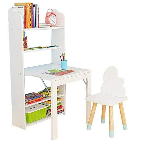 Zusammenklappbares Bücherregal Kinderarbeitstisch Diy Kombination Bücherregal Multifunktionsschreiben Spielzeug Spieltisch mit Stühlen, B-T, Klapptisch + weißer Stuhl