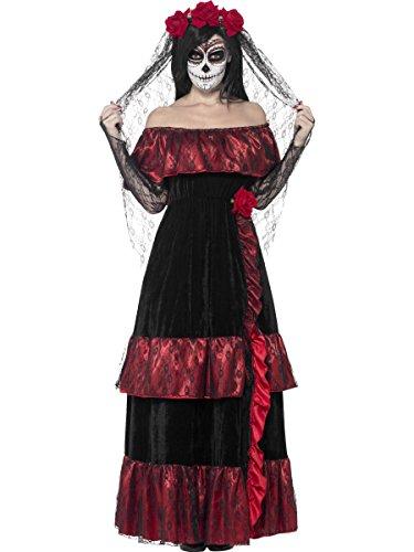 Smiffys Costume mariée jour des morts, avec robeet voile rose - Noir - Small