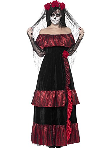 Smiffys, Damen Tag der Toten Braut Kostüm, Kleid und Rosenschleier, Größe: X1, 43739