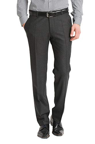 aubi: Herren Businesshose Anzughose Flanell Flat Front Modell 26 anthrazit Größe 48