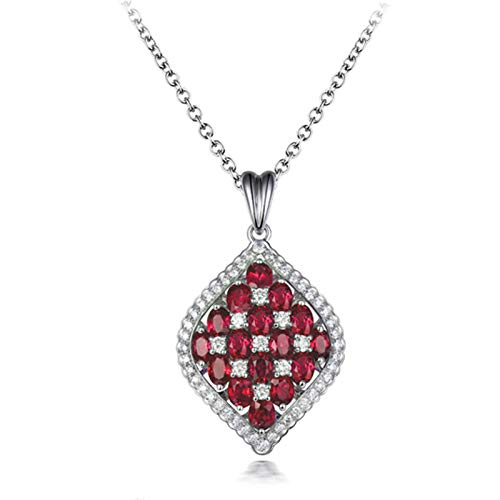 Beydodo 18 carat Gold Ruby Necklace for Women, Womens Neckalce for Party with Diamond and Ruby 3.26ct - Wedding Party Jewellery