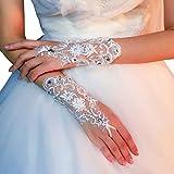 JIUYECAO Guantes de encaje cortos de verano hechos a mano con diamantes de imitación blancos mitones vestido de novia accesorios para las mujeres de novia