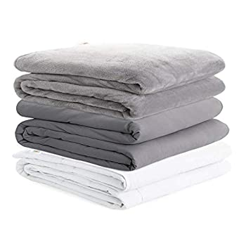 Degrees Of Comfort Cooling Weighted Blanket Queen Size Bed 1 x Cozyheat Warm Minky Plush 1 x Coolmax Washable Removable Covers Included | Micro Glass Beads Technology | 60x80 18lbs Grey