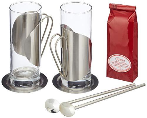 Römer Präsente Geschenkset Teegenuss: 7-teilig; 2 Teegläser, 2 Untersetzer und 2 Trinkhalmlöffel und 1 Kirschtee (50 g)