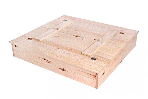 KAGU zandbak, zandbak zandbak van massief hout met deksel en zitbank, naturel, 40 x 118 x 21 cm, M00004663
