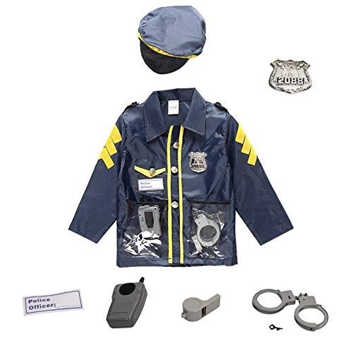 Waroomss - Disfraz de policía para niños, disfraz de policía de lujo, conjunto con kit de juego de rol, incluye camisa, pantalones, sombreros, cinturón, silbato, Holster Gun y Walkie Talkie
