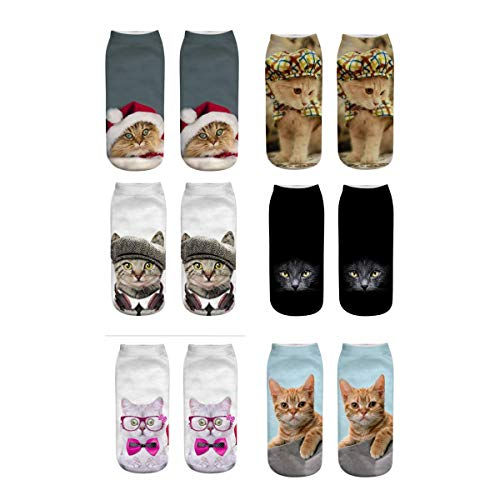 Meiping Unisex Kreative Socken 3D Katze Druckte Muster Knöchel Socken Low Cut Socken für Damen Herren Socken