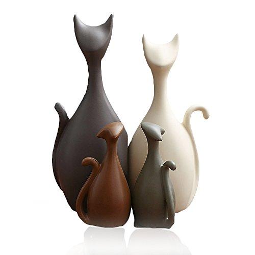 IMMIGOO 4 Pieces Famille Chats Ornements en Céramique Sculpture Statues Décorative, Deco...