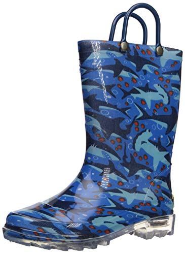 Western Chief Men's Light-Up Waterproof Rain Boot, Blue 12 M US Little Kid