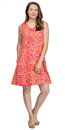 Treasures of Bali Rayon Sleeveless Beach Sundress in Citrus Leaves (Pink/Yellow Leaves, X-Large)