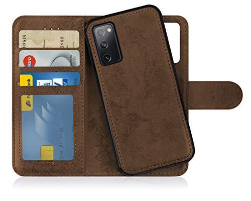 MyGadget Flip Case Handyhülle für Samsung Galaxy S20 FE - Magnetische Hülle in Kunstleder Klapphülle - PU Kartenfach Schutzhülle Wallet - Case Kratzfest - Braun
