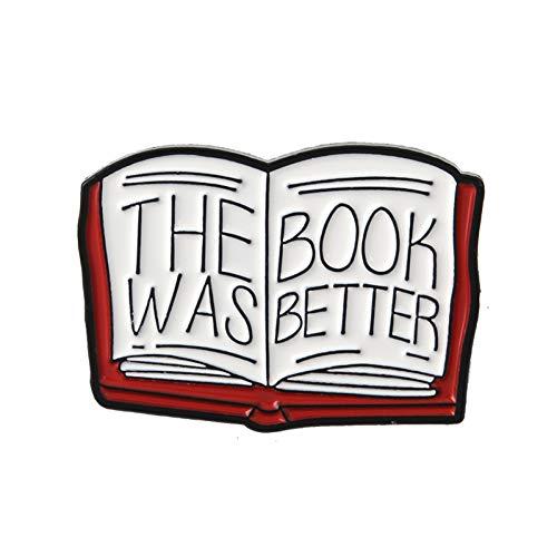 FSAKLFS Buchgeschichte Das Buch War Besser Nette Mini Magic Book Hartemaille Cartoon Broschen Anstecknadeln Für Mantel Pullover Rucksack