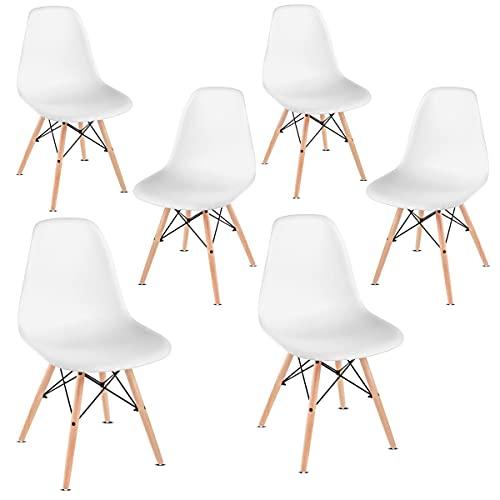 Mc Haus Sena White X6 Pack de 2 sillas nórdicas, Blanco, 38,5x38,5x83cm