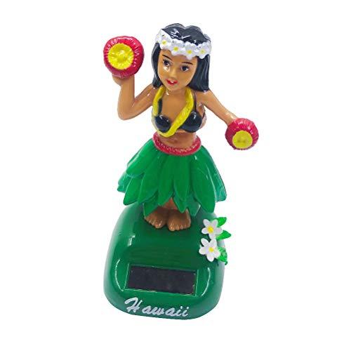 Amosfun Salpicadero Hula Girl Bobble Head Energía Solar Hawaiana Hula sacudiendo Cabeza Bailando Juguete Figura muñeca para Interior de automóvil Decoraciones Adorno Estilo B Verde