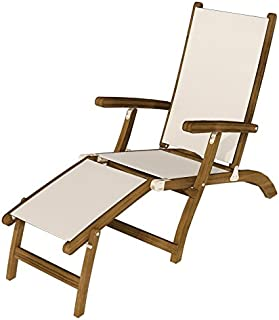 Royal Teak Collection STSLB Teak Lounging Steamer Sling Chair, White