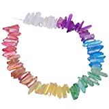 TUMBEELLUWA Titanium Coated Rock Crystal Points Loose Beads Top Drilled Colorful Quartz Stone Sticks Spikes15-16 Inches Strand