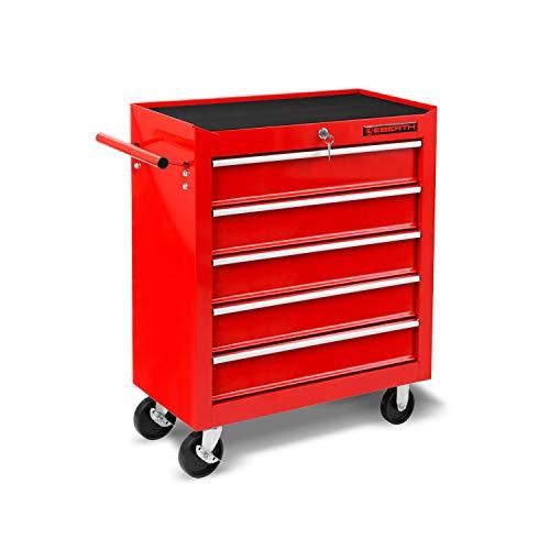 EBERTH Werkstattwagen rot (5 kugel-gelagerte Schubfächer, Antirutschmatten, abschließbar, 2 Lenkrollen, 2 Rollen mit Feststellbremse, pulverbeschichtet)