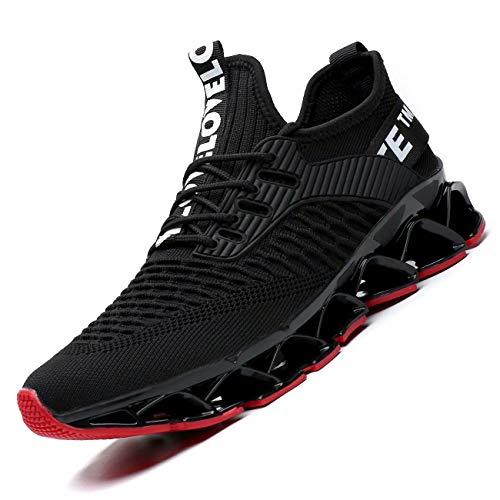 [Socviis] メンズ スニーカー ジョギング カジュアル 運動靴 ウォーキング 通気性 アウトドア トレーニングシューズ 学生 通学 サラリーマン ブラック/レッド 24.5 cm