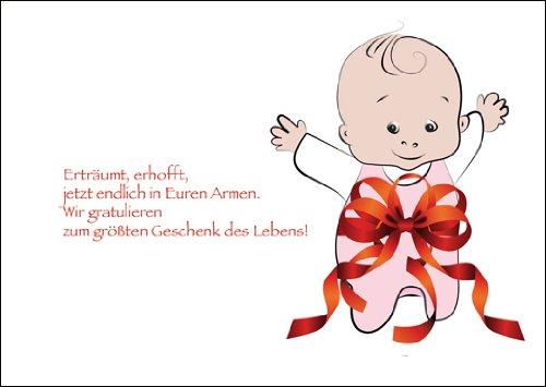 In 5-delige set: liefdevolle babykaart/felicitatiekaart voor de geboorte van een meisje met kleine babymeisje in grote luk: Droom, hoop nu eindelijk in je armen. Wij feliciteren met het grootste geschenk van het leven.