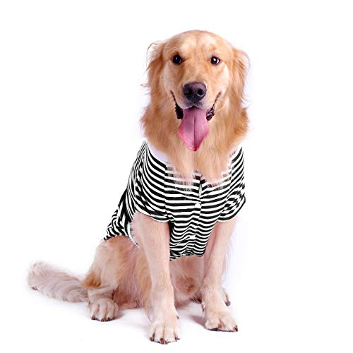 Petroom Dog Striped T-Shirt for Medium Large Dogs,Dog Cute Shirts, Breathable...