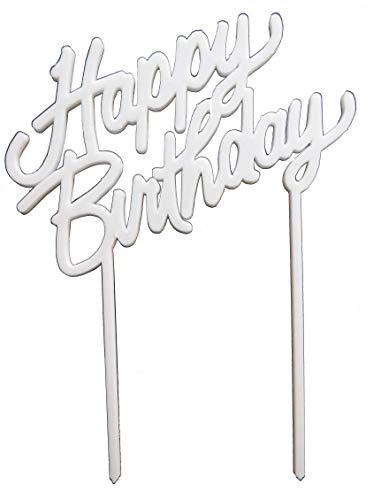PP-Products Torten Deko Happy Birthday I Kuchen Deko I Cake Topper Geburtstag Party Deko Weiß