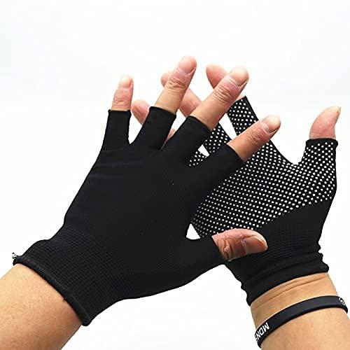 Nuevos guantes de ciclismo de nylon transpirable antideslizante al aire libre gimnasio deportes yoga ejercicio ejercicio medio dedo guantes Mtb Guantes de bicicleta for bicicletas ( Color : Black )