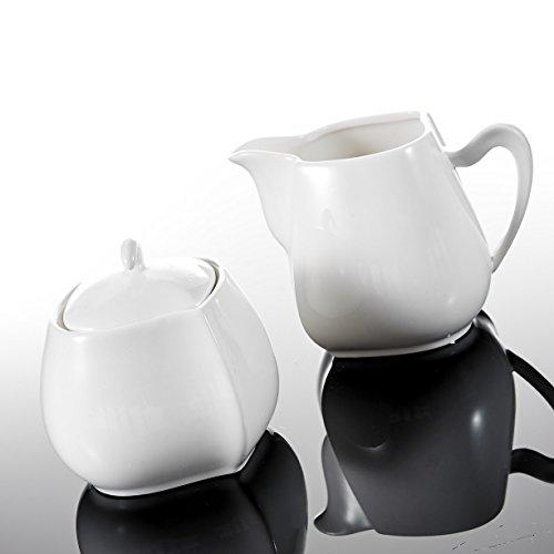 MALACASA, Serie Elvira, 3-teilig Porzellan Milch und Zucker Set mit Deckel, Milchkännchen Zuckerdose Milch- & Zuckerbeh?lter Küchenhelfer