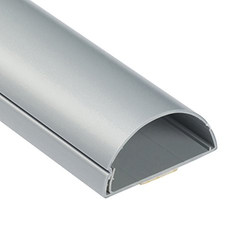 D-Line 1M6030A TV halbrunder Kabelkanal | Kabelabdeckung | 60x30 mm, 1 m Länge, Aluminium-Effekt