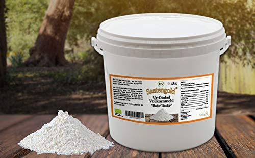 SAATENGOLD Ur-Getreide Bio-Mehle Mehl Vollkorn, Dinkel, Kamut (Ur-Dinkel, 5 kg)