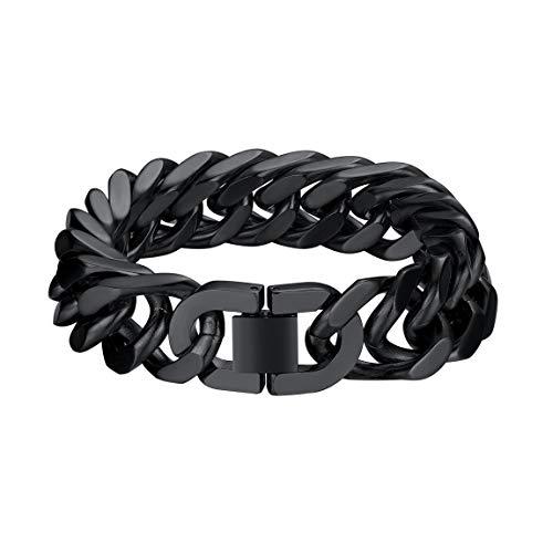 Joyería Negra 17mm Ancho Acero Metal Pulsera de Cadena Curb Cubano Grande Apretado Muñequera 21cm para Hombres y Mujeres Cable Antialérgicos