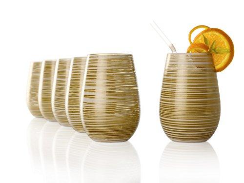 Stölzle Lausitz Becher Twister, 465 ml, 6er Set, in weiß (matt) und Gold, universell einsetzbar, für Wasser, Säfte, Cocktails, Wein, Windlicht, Vase, spülmaschinenfest