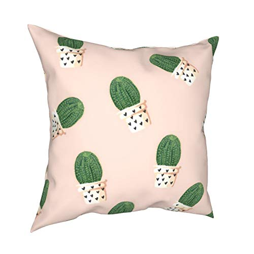 Cactus DecorativeSlipSilkCushion Cover withHidden Zipper, Both Sides Anti-Allergy Pillow Covers Standard for Sofa ChairBed Car 18'x18' Inch