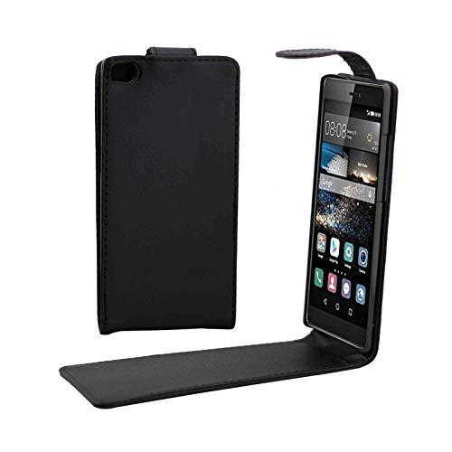 LENASH Caso Vertical botón magnético de Cuero del tirón for Huawei P8 (Negro) Q Carcasa de telefono (Color : Black)