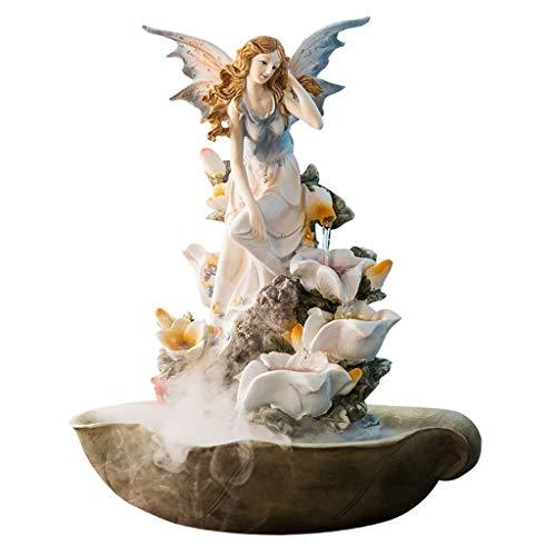 Xilinshop-Zimmerbrunnen Dekoration Desktop Brunnen Harz Engel Lilie 4 Schicht Wasserfall Wohnzimmer Dekoration Ornamente Hochzeit Housewarming Geschenke