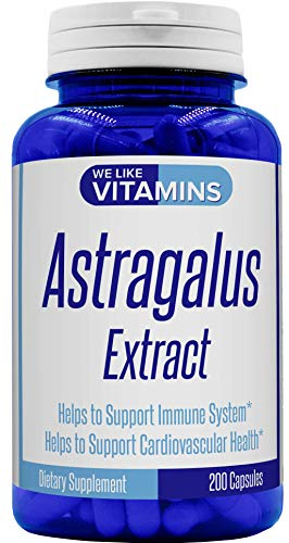 Astragalus Extract 500mg - 2000mg Equivalent 4:1 Extract – 200 Capsules – Astragalus Supplement – Helps Support Strong Immune Function and Cardiovascular System Astragalus Root Extract