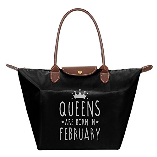 QUEENS ARE BORN IN FEBRUARY Women Fashion Waterproof Tote Shoulder Bag Shoping Bag