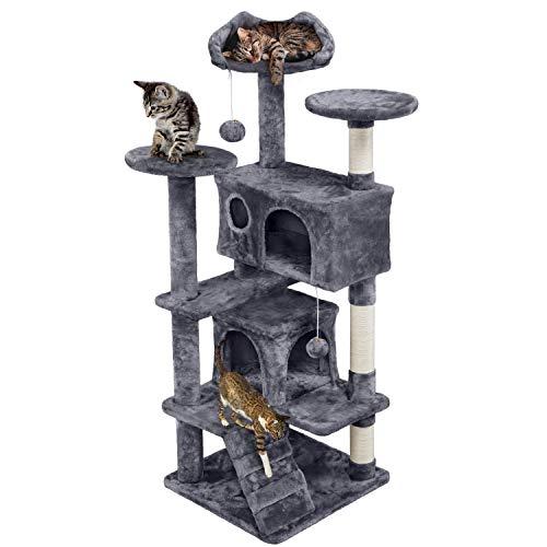 Yaheetech 138.5cm Cat Tree Condo Cat Climbing House w/ 2 Condos & 2...
