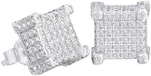KRKC&CO Stud Earrings for Men, 14K Gold Iced Out Micro Pave 5A CZ Stones Earrings, Hypoallergenic 925 Sterling Silver Earrings, Hip Hop Street-wear Rapper Earring Dating Party