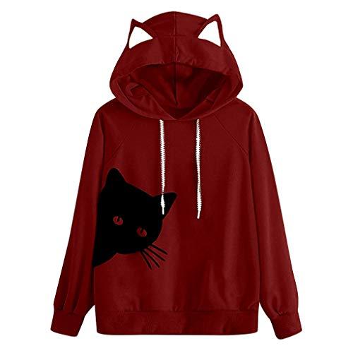 Yowablo Hoodie Sweatshirt Frauen Katze Langarm Kapuzenpullover Tops Bluse (S,6- Weinrot)