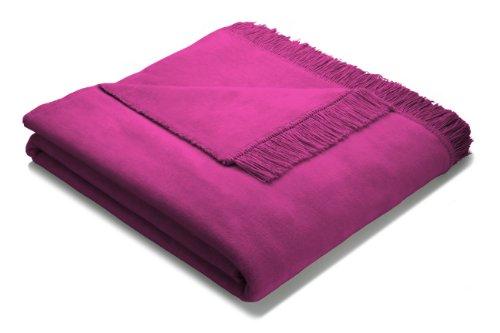 Biederlack Bocasa Orion Decke/Überwurf aus Baumwolle Plus mit Fransen 150x200cm, Raspberry