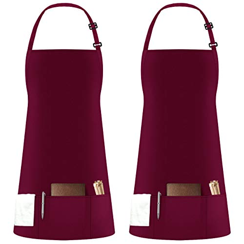 Syntus 2 Pack 3 Pockets Adjustable Bib Apron Thicker Version Waterproof with Extra Long Ties Cooking Kitchen Aprons for BBQ Drawing, Women Men,Chef, Wine Red
