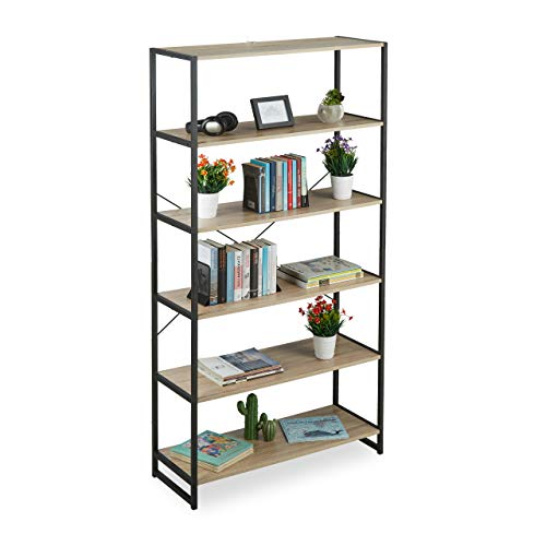 Relaxdays Standregal Industrial, hohes Bücherregal, offenes Design mit 6 Fächern, HBT 180x95x35 cm, aus PB/Metall, braun