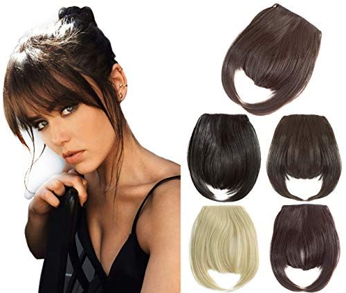 """Felendy 6.7"""" Fringe Bangs Hair Extensions One Piece Clip in Bangs Straight Cute Hairpiece Thick Front Neat Bang with Temples Dark Brown"""